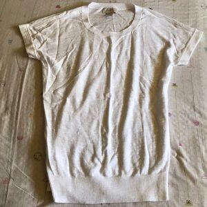 White Short Sleeve Sweater by Loft